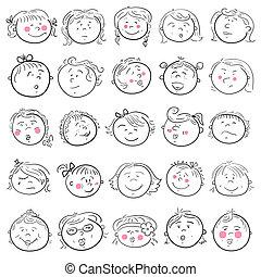 女の子, セット, 漫画, 顔