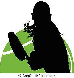 女の子, テニス, 2, 部分