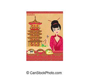 女の子, テンプレート, 楽しみなさい, -, 寿司, メニュー, アジア人, 美しい