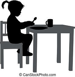 女の子, テーブル。, 食べられた