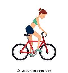 女の子, デザイン, 運動