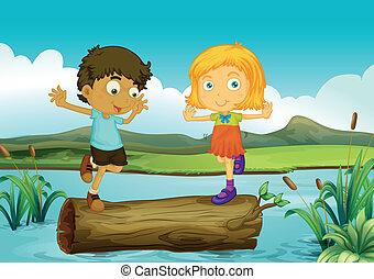 女の子, トランク, 浮く, の上, 男の子