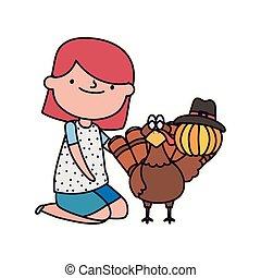 女の子, トルコ, 感謝祭, カボチャ, 日, 帽子, 幸せ