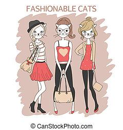 女の子, ネコ, ファッション