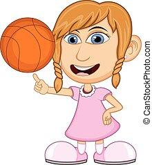 女の子, バスケットボール, 遊び, 漫画