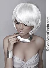 女の子, バックグラウンド。, 女性の美しさ, 灰色, 隔離された, 流行, ファッション, style., ブロンド,...