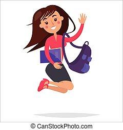 女の子, バックパック, ノート, 学生, 跳躍
