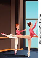 女の子, バレエ, 練習する