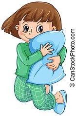 女の子, パジャマ, 枕, 抱き合う