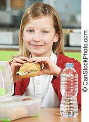 女の子, パックされた, モデル, カフェテリア, テーブル, 食べること, 健康, 学校