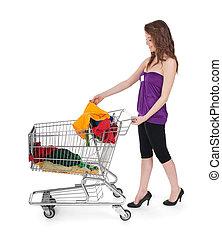 女の子, パッティング, カラフルである, 衣服, 中に, a, 買い物カート