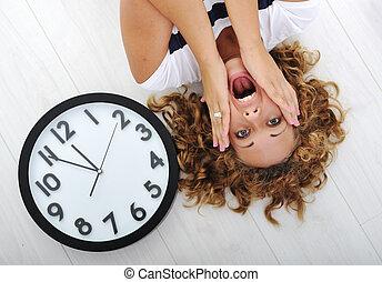 女の子, パニック, 時計