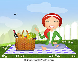 女の子, ピクニック