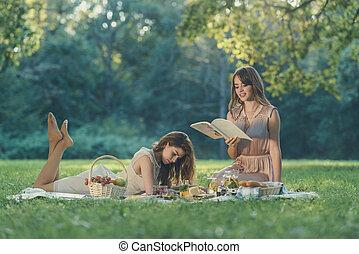 女の子, ピクニック, 若い