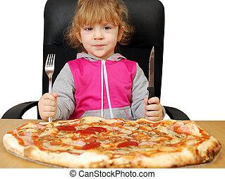 女の子, ピザ