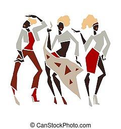 女の子, ファッション, シルエット, セット