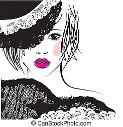 女の子, ファッション, レース, イラスト, 帽子