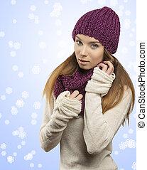 女の子, ファッション, 服, 冬