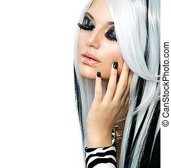 女の子, ファッション, 美しさ, style., 黒髪, 長い間, 白
