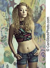 女の子, ファッション, 若い, 巻き毛