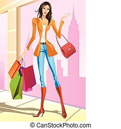 女の子, ファッション, 買い物