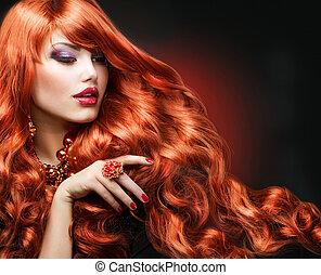 女の子, ファッション, hair., 肖像画, 波状, 赤
