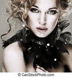 女の子, ファッション, hairs., portrait., accessorys., 赤