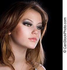 女の子, ファッション, makeup., 肖像画, 長い間, 美しい, まつげ