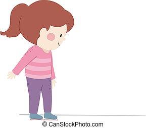 女の子, フィート, ∥ない∥, 任意である, 基準, 子供, イラスト