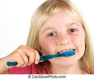 女の子, ブラシをかけること, 彼女, 歯