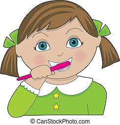 女の子, ブラシをかける 歯