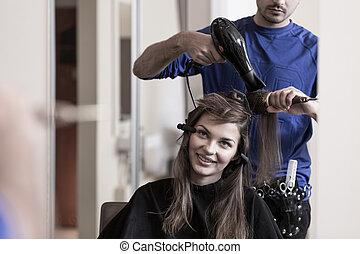 女の子, ブルネット, 大広間, 美容師