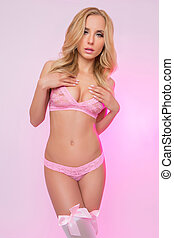 女の子, ブロンド, ランジェリー, ピンク, かわいい, セクシー