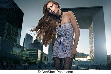 女の子, ブロンド, 背景, 都市, 上に, かなり
