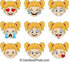 女の子, ブロンド, 青い額面, 目, 表現, emoji