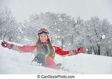 女の子, プレーしなさい, 雪