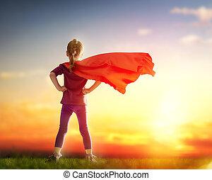 女の子, プレーする, superhero