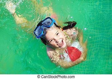 女の子, プール, 水泳