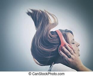 女の子, ヘッドホン, 音楽が聞く