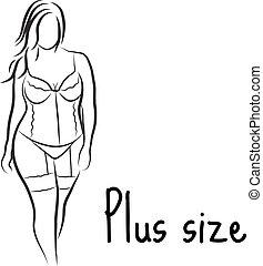 女の子, ベクトル, イラスト, シンボル。, スケッチ, シルエット, 大きさ, curvy, 女, model.,...