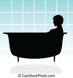 女の子, ベクトル, イラスト, 浴槽
