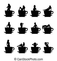 女の子, ベクトル, シルエット, 中に, コーヒーのカップ