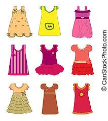 女の子, ベクトル, セット, 服