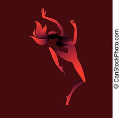 女の子, ベクトル, ダンス, イラスト, silhouette.