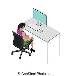 女の子, ベクトル, 労働者のオフィス, バックグラウンド。, イラスト, 白, 映像