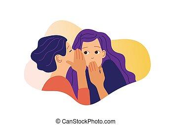 女の子, ベクトル, 女の子, illustration., 興奮させられた, girlfriend., gossiping, 1(人・つ), 秘密, 2, ささやく