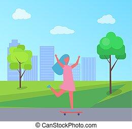 女の子, ベクトル, 超高層ビル, 木, skateboarding