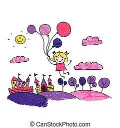 女の子, ベクトル, 風船, イラスト, 幸せ