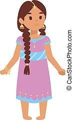 女の子, ベクトル, indian, イラスト