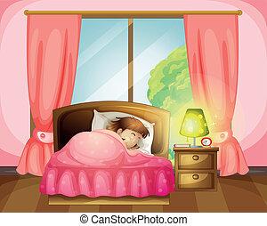 女の子, ベッド, 睡眠